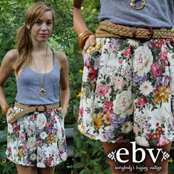 Vintage 80's High Waisted Floral Linen Summer Shorts M L