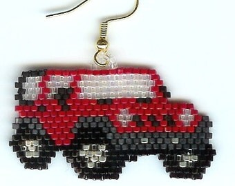 Hand Beaded Red Jeep earrings