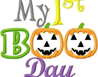 My First Boo Day  halloween embroidery applique designs instant download