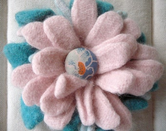 Felted Sweater Flower Pin in shades of pink and blue (second version)