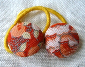 Pig tail elastics with vintage fabric covered buttons