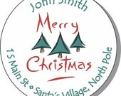 "90 Christmas Address Labels - Self stick stickers - 1.5"" round"