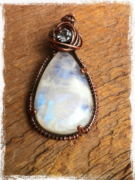 SALE Moonstone and Blue Topaz Copper Wire Wrapped Pendant