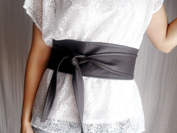 Dark brown vegan leather obi belt , brown obi belt, vegan leather sash belt, dark brown belt, faux leather belt