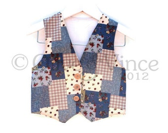 SALE - chidrens waistcoat 2-3yrs ready to ship boys blue patchwork vest toddler clothes smart page