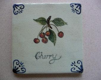 Handmade Ceramic Tile - Handpainted Bird - Cherry BotanicaL