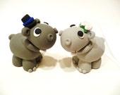Hippo Wedding Cake Topper - Choose Your Colors