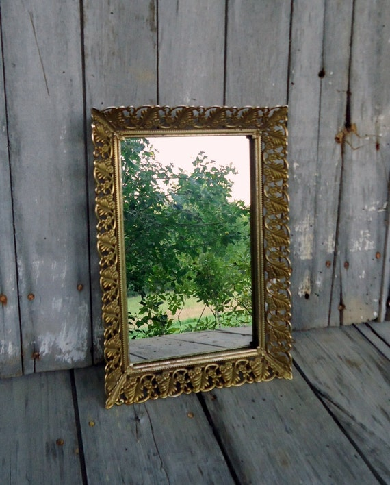 Ornate Mirror Tray Brass Picture Frame Vintage Metal Gold Tone Photo Filigree Home Decor Floral Cosmetic Dresser Vanity