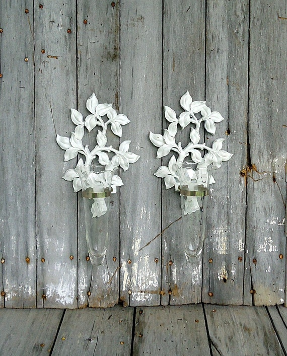 Vintage Wall Vase Flower Syroco Plaque Hanging Glass Holder Pair Wedding White Distressed Shabby Cottage Upcycled Romantic Wedding Decor