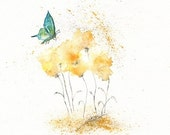 Fields of Love With Teal Aqua Butterfly/ watercolor print / grey and yellow / gray and yellow / Archival Print