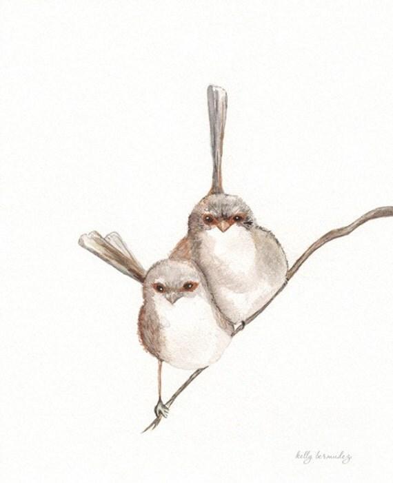 Together, Wren Bird, birds watercolor, bird art, Watercolor print, watercolor birds