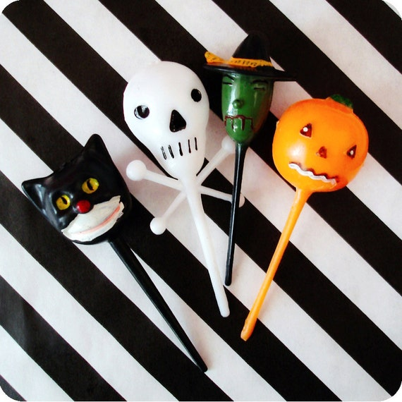 Halloween Cupcake Toppers - 12 Vintage Inspired Halloween Cupcake Picks - Cat -  Skeleton -  Pumpkin -  Witch