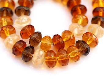 Czech glass beads - Amber topaz MIX, yellow, brown, beige, gemstone cut - 4x7mm - 25Pc - 423