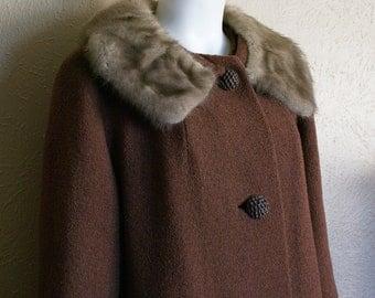 50's Size Large Mink Collar Hockanum Wool Coat