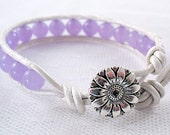 Orchid Candy Jade Leather Wrap Bracelet - Adult Small, Teen or Child Size - Spring - Summer - Gifts Under 15