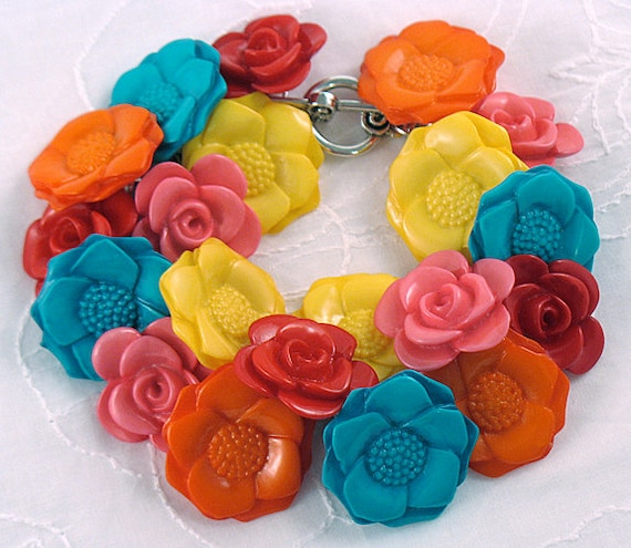 Neon Flower Button Bracelet with Silver Chain - Statement Jewelry - Summer Colors