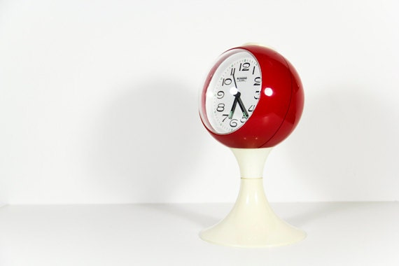RESERVED FOR NEREA - Mod Alarm Clock Red White Orb West Germany