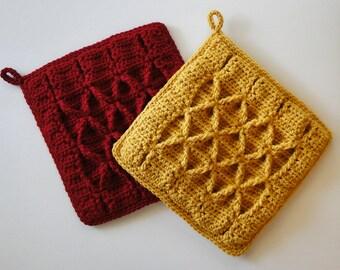Crochet Pattern - Potholder Crochet Pattern #303 - Smocked Crochet - Instant Download PDF