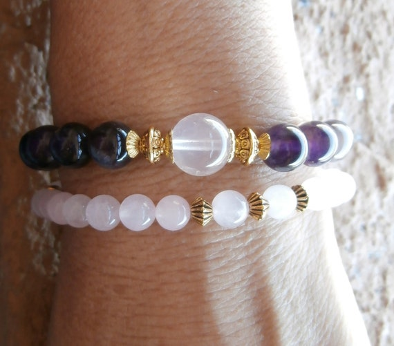 Self love and Peace Amethyst & Rose Quartz, Yoga Mala set of 2 Bracelet, Reiki Charged, free shipping