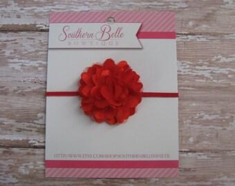 Baby headband, newborn headband, infant headband - Red satin tulle MINI flower headband