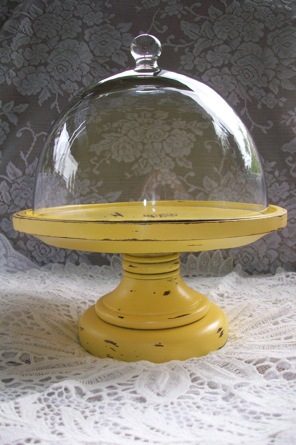 Shabby Chic French Country Decor Yellow Candle Holder