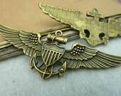5 pcs 64x24mm Antique Bronze Vintage Filigree Large Angels Eagle Wings Ship Anchors Charms Pendants fc90893
