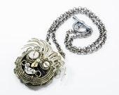 Ooak Steampunk Jewelry - Robot Necklace