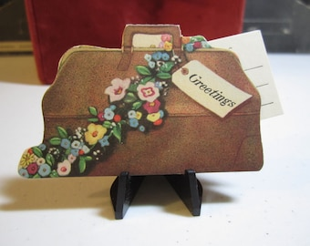 1930's die cut new baby announcement card in the shape of a doctors bag with separate card inside unused rust craft