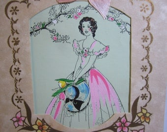 1930's die cut hand colored easter greeting card to sweetheart pretty girl gold gilded pink silk ribbon hallmark