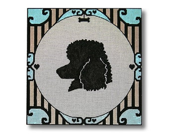 Needlepoint Dog Silhouette Canvas - Poodle