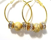 Golden Hoops with Yellow Howlite Turquoise and Crystal Rondelles