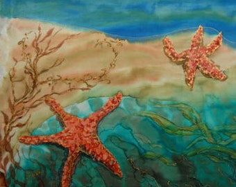 STARFISH original dye on silk painting wooden antique frame