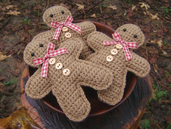 Crochet Gingerbread Man Set of 3 Christmas Decoration Bowl