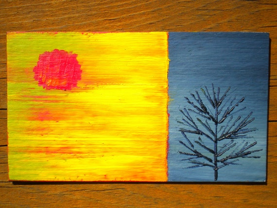 Season of Change Autumn and Winter - Oil Handpainted Magnet ACEO (Free US Shipping)