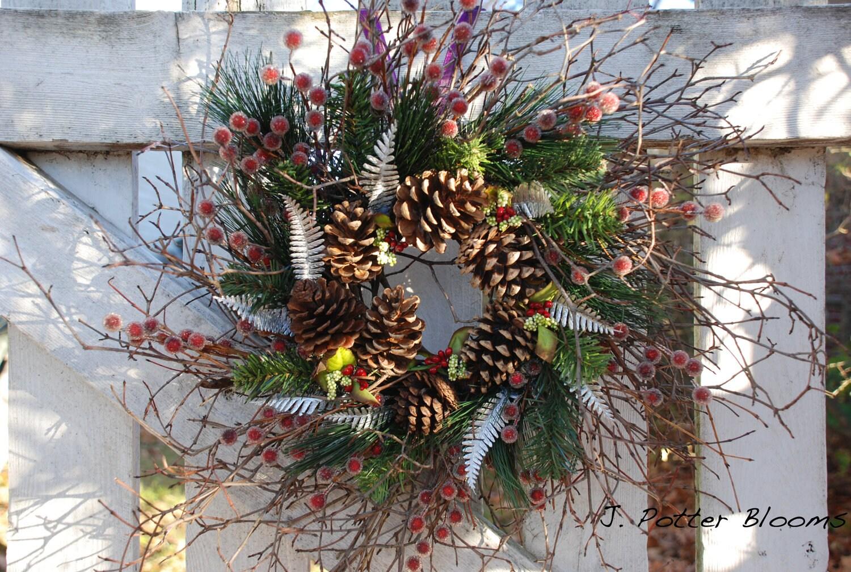 winter pine wreath front door wreath rustic by jpotterblooms. Black Bedroom Furniture Sets. Home Design Ideas