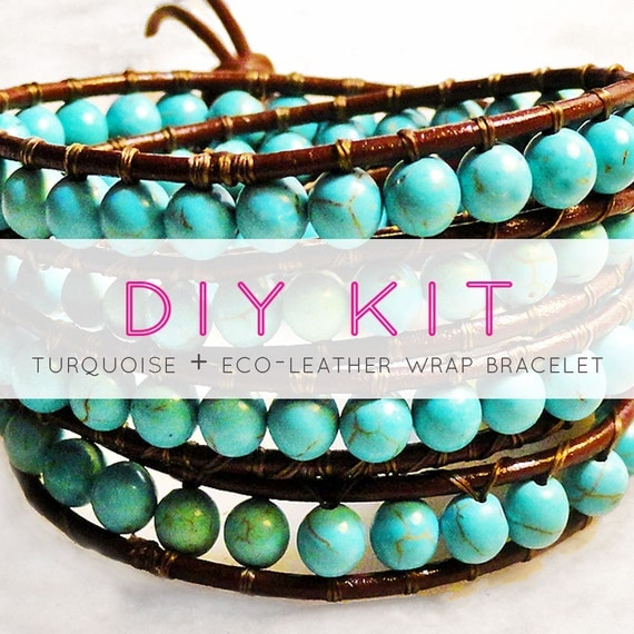 make a leather wrap bracelet with turquoise beads: DIY KIT supplies & tutorial - turquoise and leather wrap bracelet