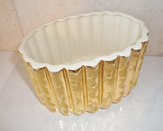 Vintage Planter 24 K Gold Glaze Cameron Clay Products Oval Planter