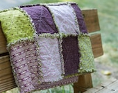 Handmade Throw Rag Quilt -- Blackberry Bramble in Purple and Olive Green
