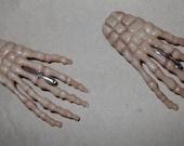 Skeleton hand hair clip bones rockabilly