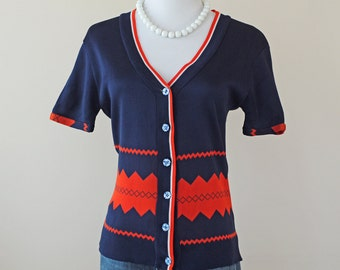 SALE 1960s Argyle Sweater / 60s Cardigan // Miss Lucy Sweater