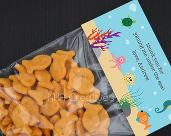 Personalized Under the Sea Treat Bag Topper - DIY Printable Digital File