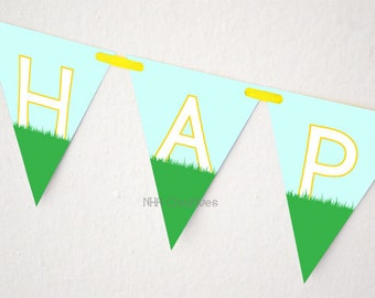 Happy Birthday Golf Banner - DIY Printable Digital File