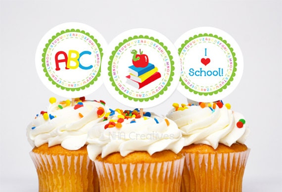 Back To School Themed Cupcake Toppers - Bookworm - DIY Printable Digital File