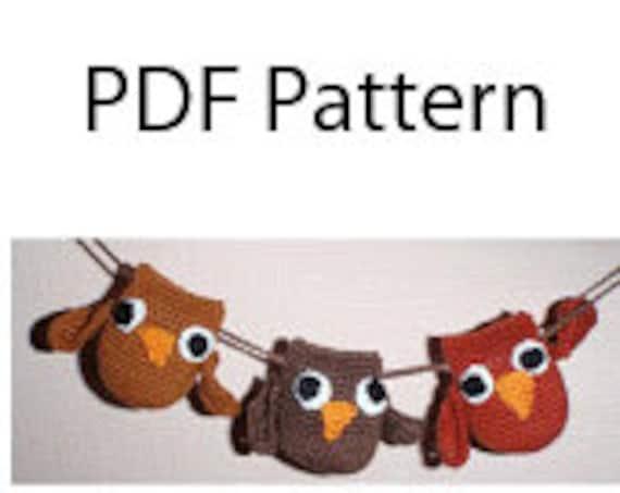 PDF Crochet pattern Owls mobile