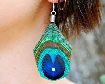 DANCING PEACOCK Feather Earrings