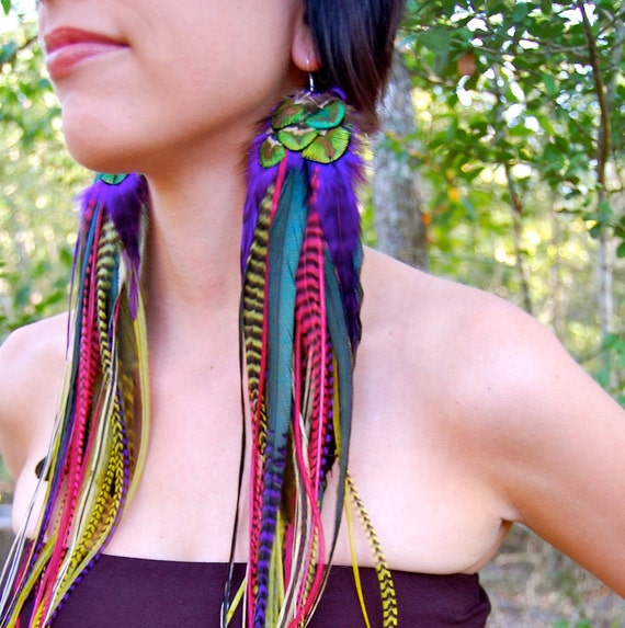 GYPSY GLAMOUR Super Long Feather Earrings SALE
