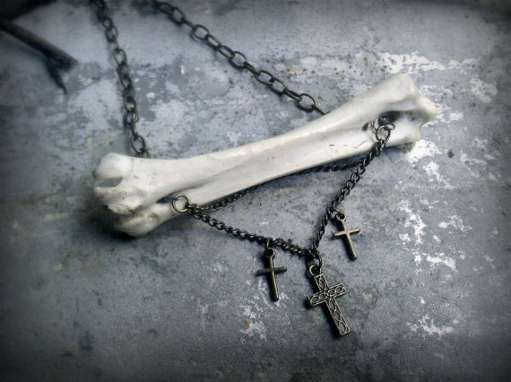 Henet Bird Bone and Crosses Necklace