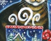 Christmas Magic  - 5x7 print - by Brenna White - winter Christmas tabby cat snow stars moon