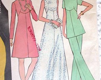 "McCalls Dress Pattern No 3745 UNCUT Vintage 1970s Sz 12 Bust 34"" Long or Short Sleeves Sleeveless Shaped Bodice Back Zipper Maxi Tunic Pants"