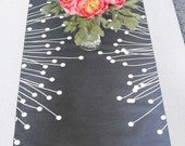 Grey/White Modern Cotton Table Runner, Ready to Ship